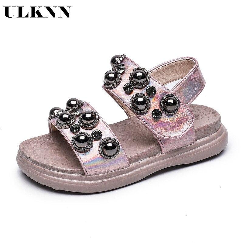 ULKNN Children Sandals Girl Beach Rhinestone Princess Shoe Double-deck Polyurethane Bottom Sandal New Arrivals