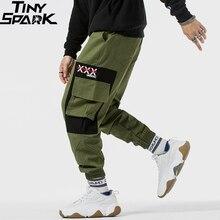 2019 สะโพกสะโพกกางเกงCargoสีบล็อกหลายกระเป๋ากางเกงผู้ชายกางเกงขายาวกางเกงขายาวStreetwear Harajukuทหารยุทธวิธีกางเกงผ้าฝ้ายสีเขียว
