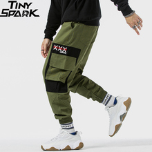 2019 Hip Hip Cargo Pants Color Block Multi Pockets Men Pants Joggers Streetwear Harajuku Military Tactical Trousers Cotton Green