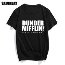 DUNDER MIFFLIN kağıt a. Ş ofis tv show Mens pamuklu tişört erkek kız yaz pamuk T shirt Unisex elbise