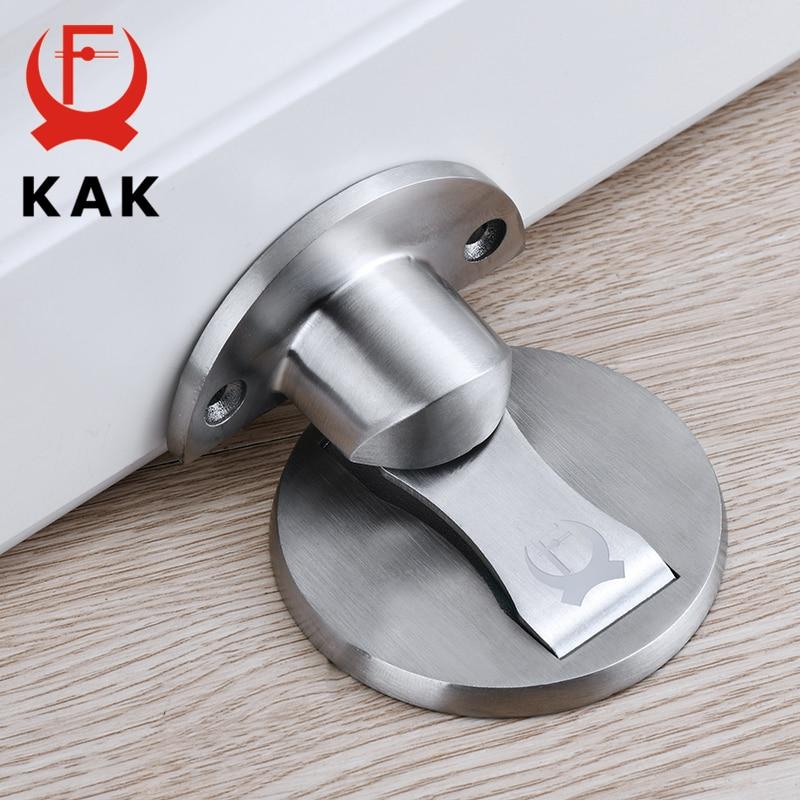 KAK Magnetic Door Stops 304 Stainless Steel Door Stopper Hidden Door Holders Catch Floor Nail-free Doorstop Furniture Hardware