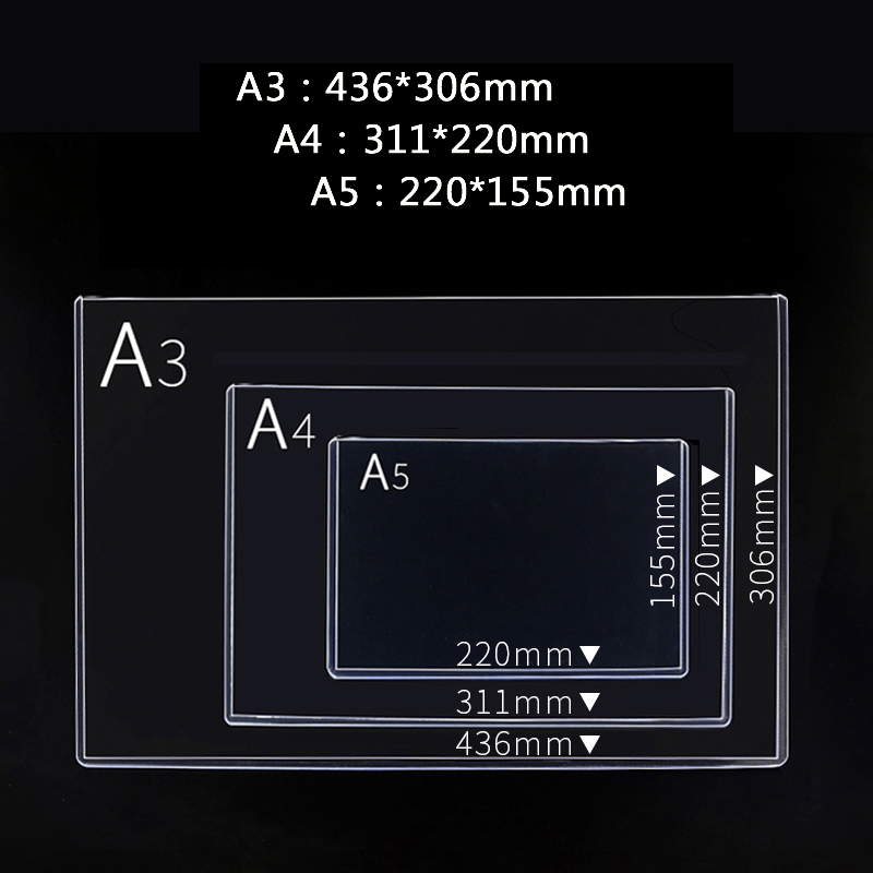 Data Bag File Protection Sleeve Clip A5/A4/A3  Hard Rubber Transparent Plastic Card Bag Presentation Folder