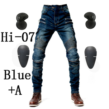 2019 New Khaki Motorcycle Pants Black Men Moto Jeans Zipper Protective Gear Blue Motorbike Trousers Motocross Pants Moto Pants - Hi-07 Blue A, M