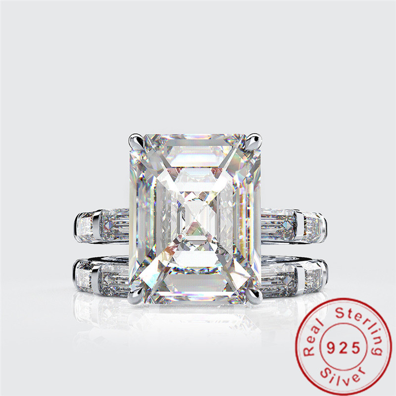 Emerald Cut 4ct Moissanite Diamond Ring sets 100% Original 925 sterling silver Engagement Wedding band Rings for Women Jewelry