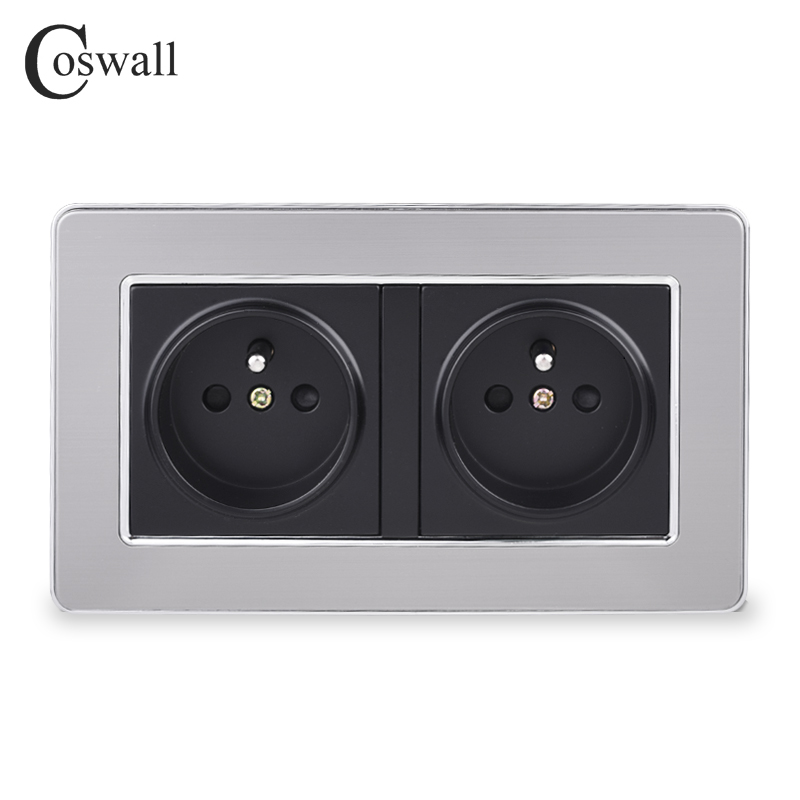 COSWALL 16A Double French Standard Wall Socket Luxury Power Outlet Stainless Steel Brushed Silver Panel AC 110~250V