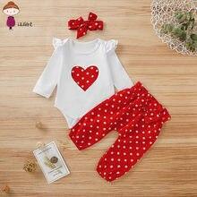 LILIGRIL yenidoğan bebek kız giysileri uzun kollu kalp baskı T-shirt + kırmızı Polka Dot pantolon + kafa bebek bebek kız giyim seti