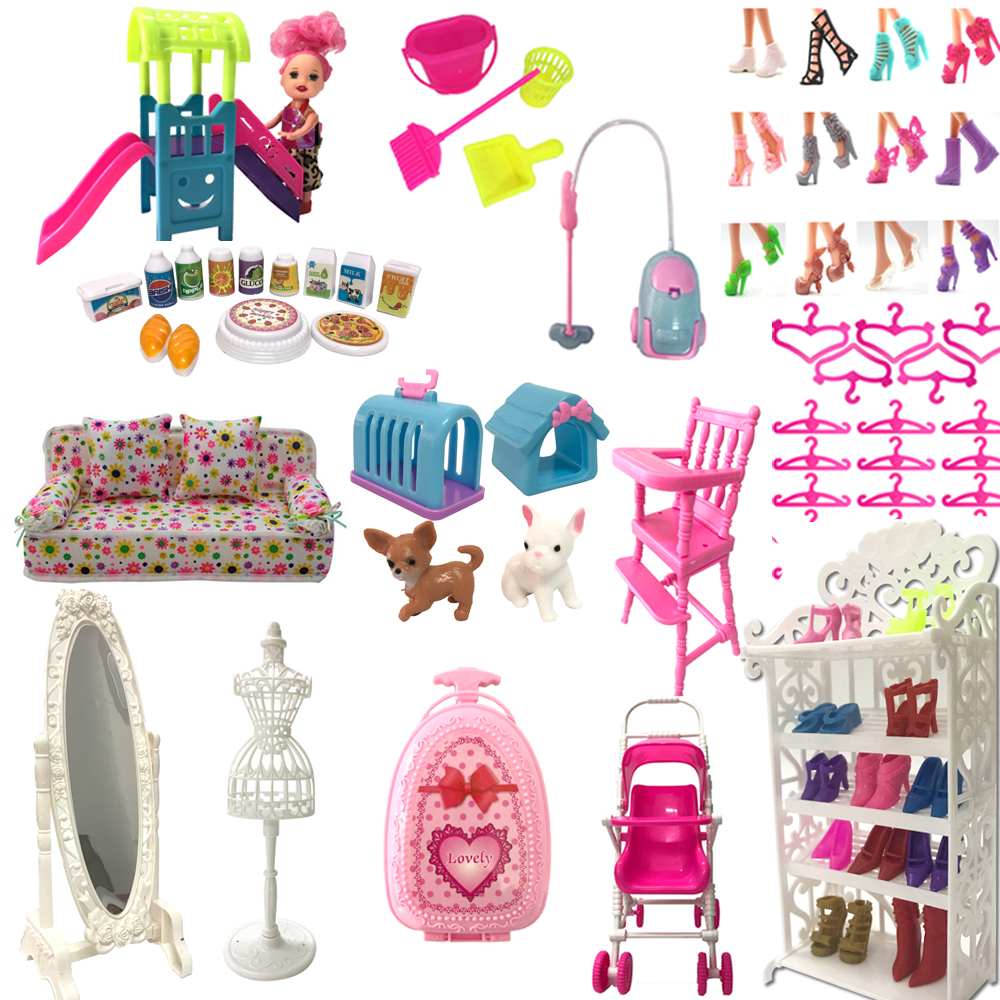 NK 1x Doll Accessories Mix Fashion Shoes Rack  Hangers Bag Furniture Dollhouse Sofa For Barbie Doll For Kelly Doll Toy JJ