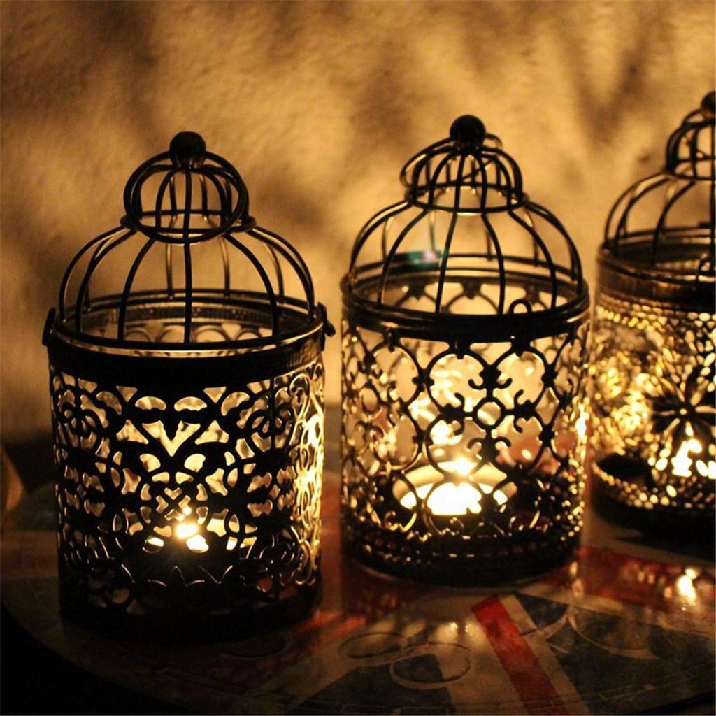 Retro Bird Cage Hollow Candle Holder Tea light Candlestick Hanging Lantern Decor