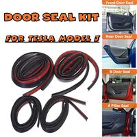 For Tesla Model 3 Door Seal Kit Soundproof Rubber Weather Draft Seal Strip Wind Noise Reduction Kit Car Accessories