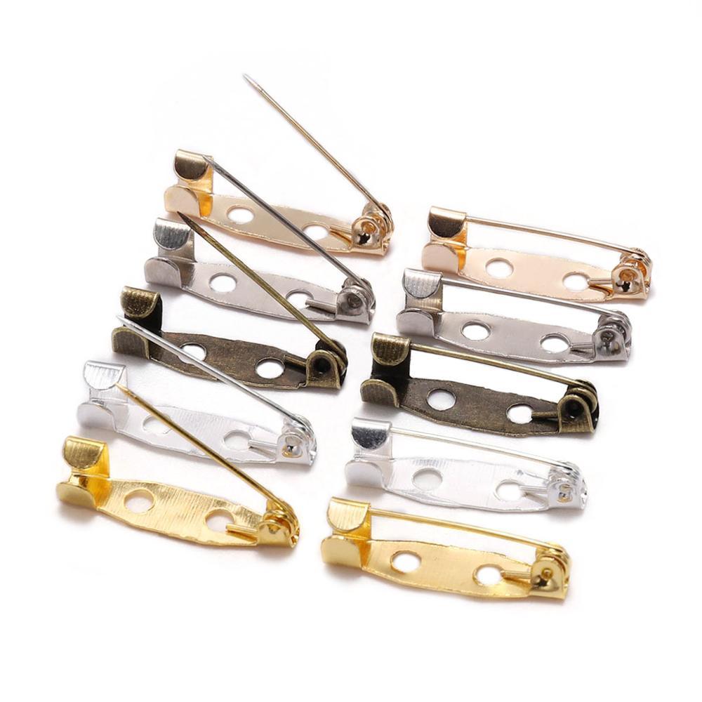 50 pçs/lote 15 20 25 30 35 mm prata broche clipe base pinos de segurança broche configurações em branco base para diy jóias fazendo suprimentos