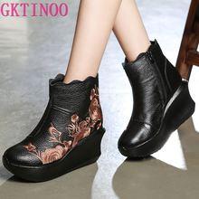 GKTINOO/женские ботинки ручной работы с вышивкой; ботильоны из натуральной кожи; винтажная женская обувь на платформе; ботинки на танкетке с круглым носком