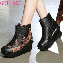 GKTINOO Embroider Handmade Boots For Women Genuine Leather Ankle Shoes