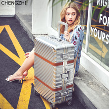 CHENGZHI Vintage Rolling luggage spinner suitcase wheels aluminum frame trolley travel bags men women carry on luggage cheap vescovo Unisex as description CHENGZHI LUGGAGE