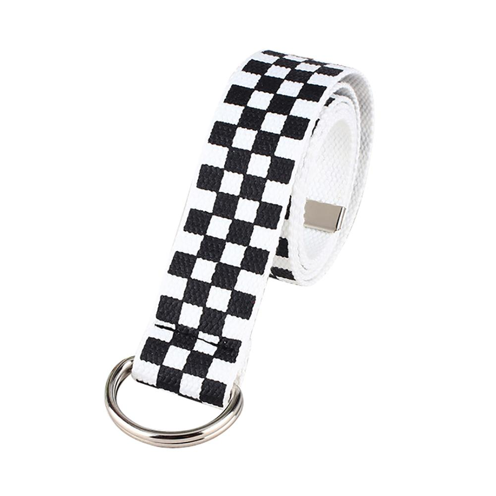 Belt riem fashion casual men s and women s chessboard canvas D ring belt plaid belt