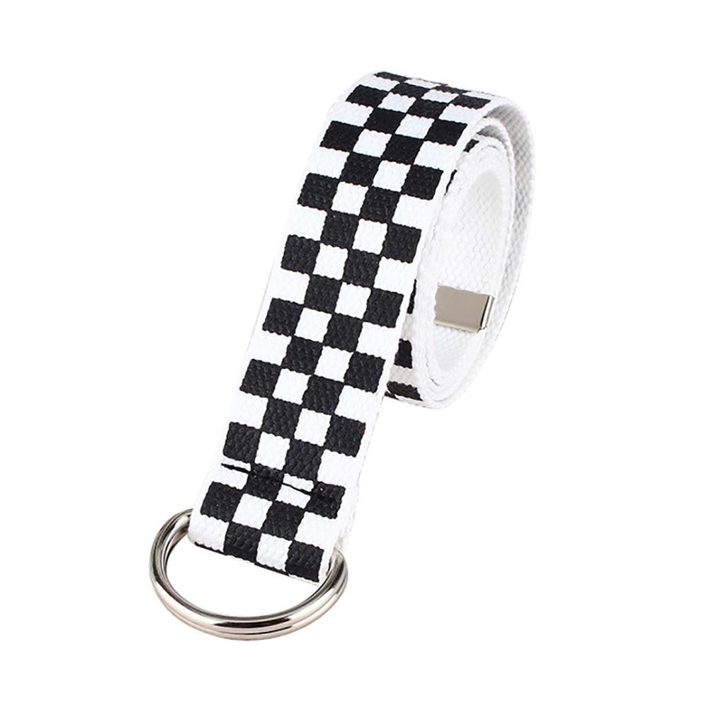 Belt Riem Fashion Casual Men's And Women's Chessboard Canvas D Ring Belt Plaid Belt Durable Strong Cute Belt