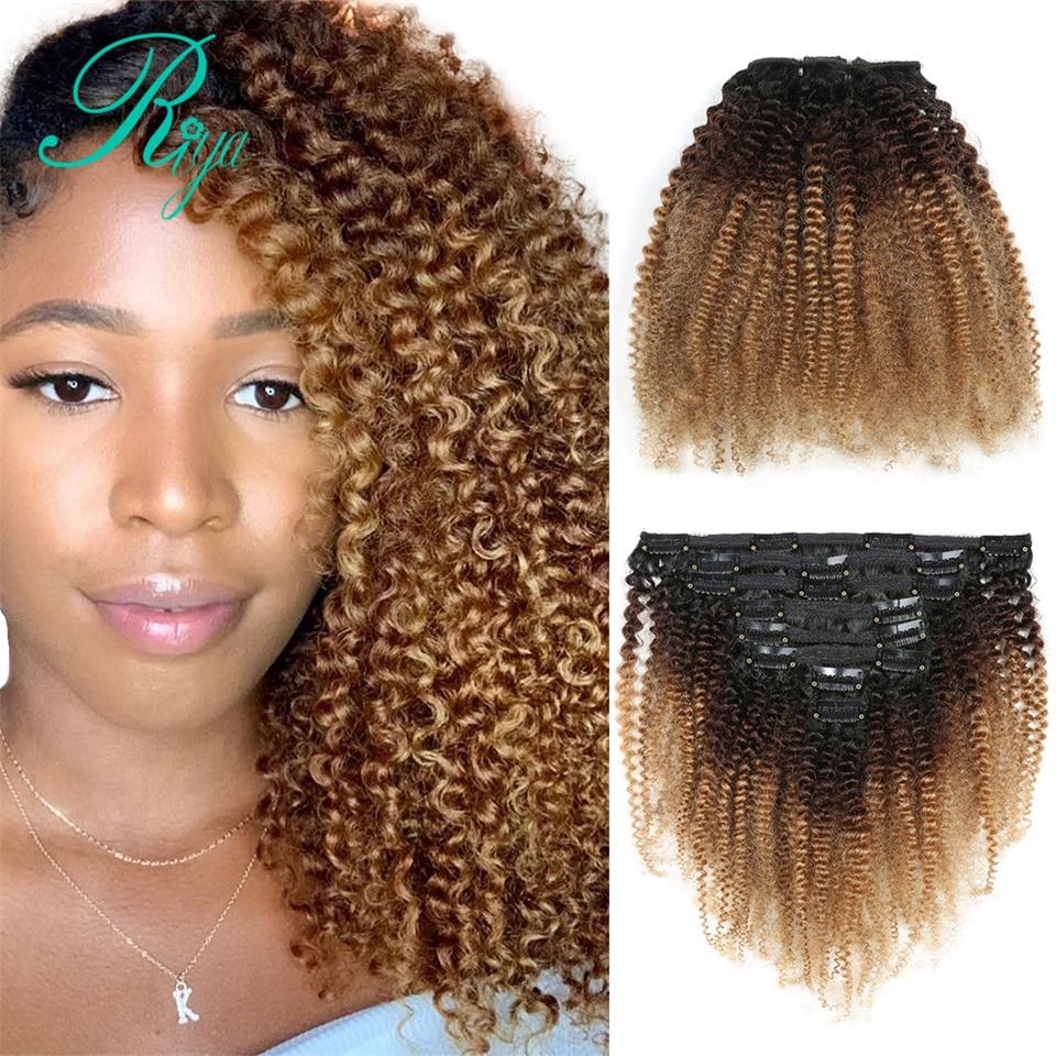 Extensão de cabelo encaracolado, t1b427 ombre grampos coloridos para mulheres negras 3c 4a afro 8 peças e 120g/set cabelo remy