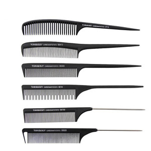 Image 3 - 1 Pc New Professional Black Hard Carbon Cutting Comb Heat Resistant Salon Hair Trimmer Brushes Metal Pin Tail Antistatic Comb