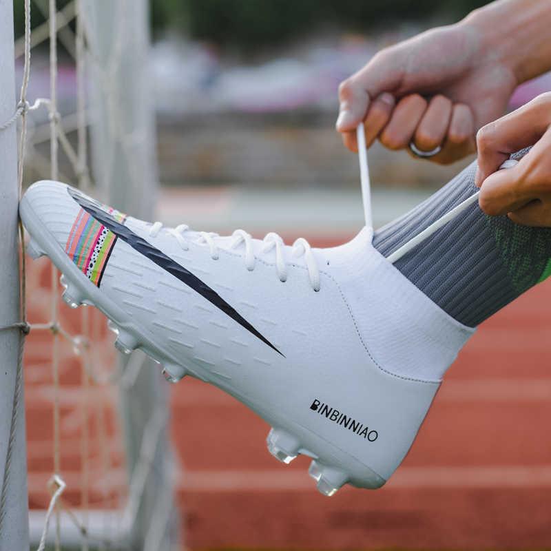 Futbol ayakkabıları erkekler futbol kramponları ayakkabıları Futsal futbol Cleats genç ayak bileği yüksek üstleri çocuklar kapalı futbol eğitim Sneakers