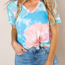 short-sleeved T-shirt 2020 loose outside tie-dyed V-neck pul