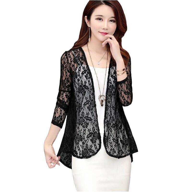 2020 Fashion Summer Lace Shawl Small Jacket Women Short-cut Thin Cardigan Long-sleeved Sun Protection Clothing Cape Female 3338