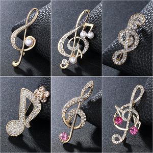 WEIMANJINGDIAN New Arrival Crystal Rhinestones Pave Musical Signs Brooch Lapel Pins