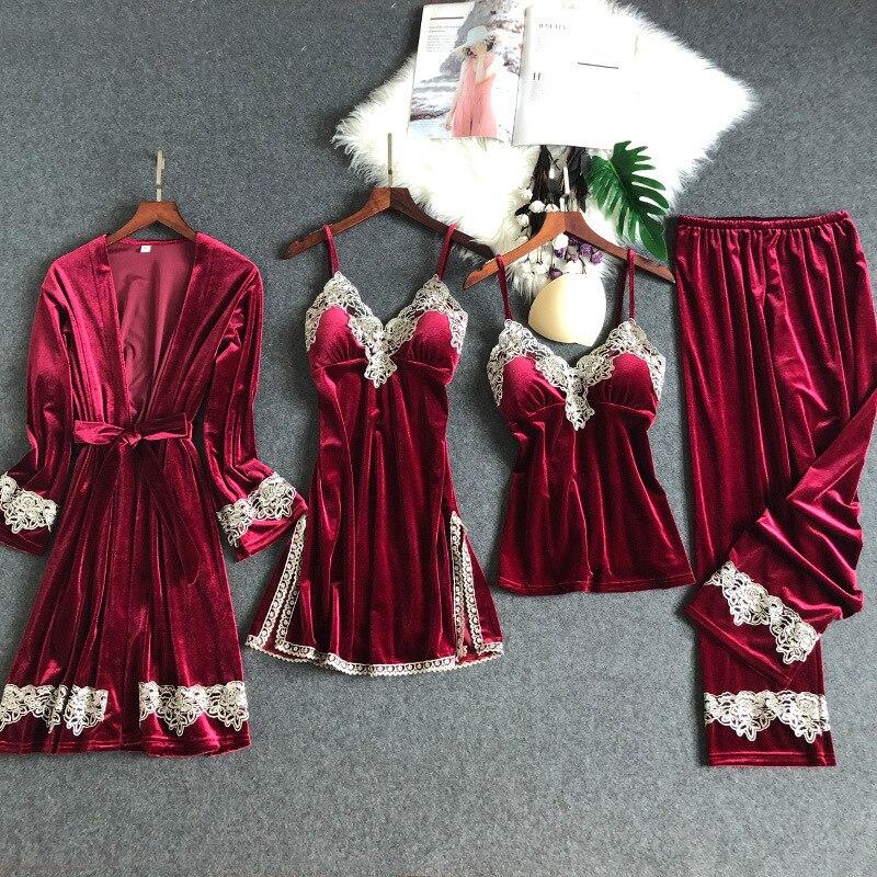 Autumn Winter New Gold Velvet 4 Pcs Women Sleepwear Set Lace Sexy Keep Warm Pijama