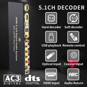 Image 1 - HD815B HDMI 5.1 Audio Converter Decoder DAC DTS AC3 FLAC APE 4K*2K HDMI to HDMI Extractor Converter Splitter Digital SPDIF ARC
