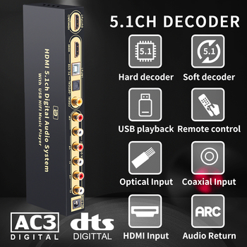 цена на HD815B HDMI 5.1 Audio Converter Decoder DAC DTS AC3 FLAC APE 4K*2K HDMI to HDMI Extractor Converter Splitter Digital SPDIF ARC