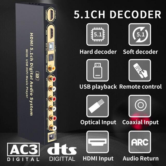 HD815B HDMI 5.1 Audio Converter Decoder DAC DTS AC3 FLAC APE 4K*2K HDMI to HDMI Extractor Converter Splitter Digital SPDIF ARC