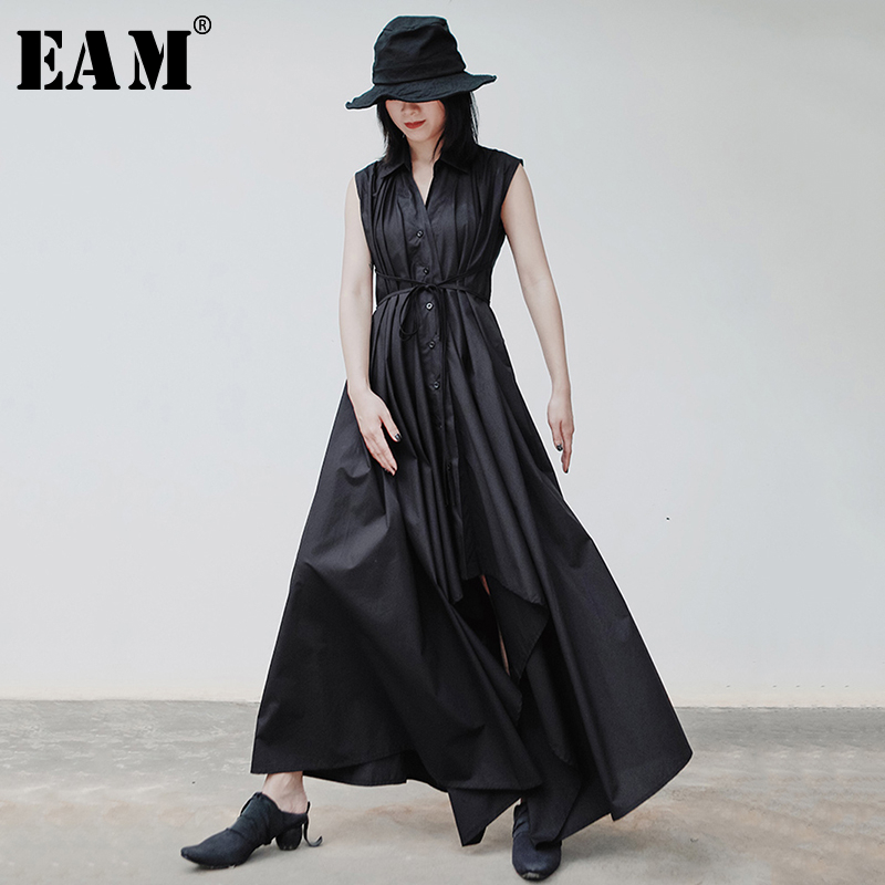 [EAM] Women Black Pleated Asymmetrical Shirt Dress New V-Neck Sleeveless Loose Fit Fashion Tide Spring Autumn 2020 1S906