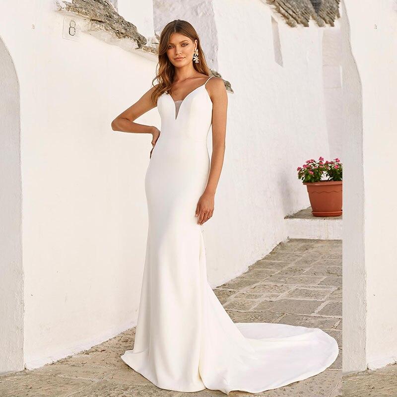 Beach Wedding Dresses 2020 Sexy Mermaid Wedding Gowns Elastic Chiffon Spaghetti Strap Backless White Ivory Bride Dresses