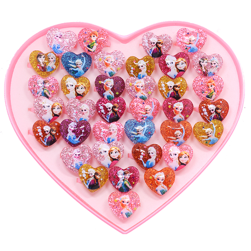 Wholesale Jewelry 20pcs/lot Cute Kids Cartoon Animal Snow Princess Heart/round Ring for Girls Children Baby Rings Party toy Gift