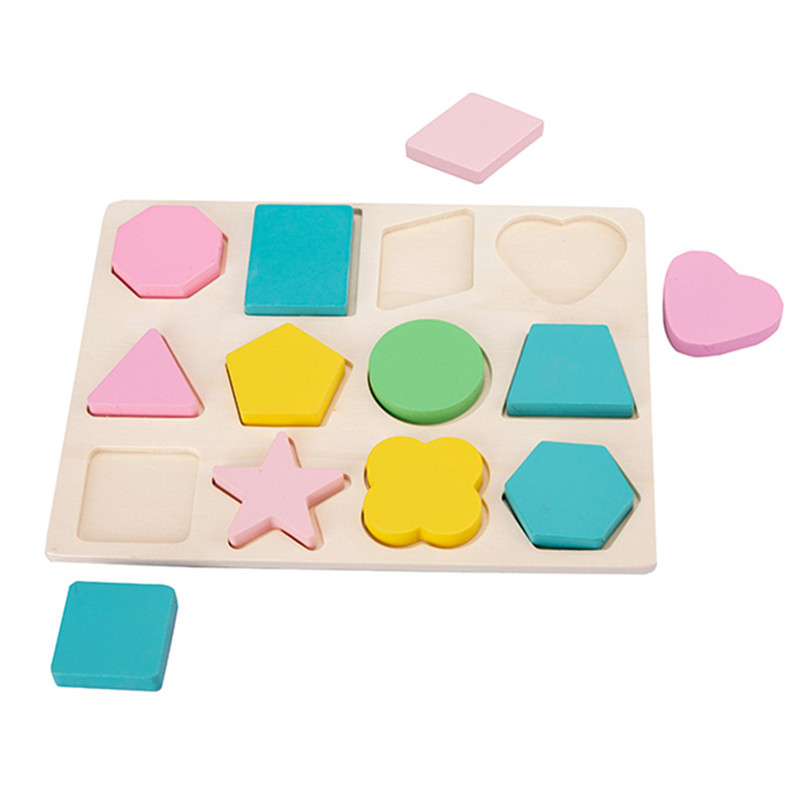 Children's Wooden Toys Geometric Shape Color Cognitive Paired Grasping Board Early Education Puzzle Building Blocks Puzzle