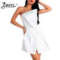 INDRESSME 2019 New Strapless Bow Shape Sexy Sleeveless Backless Club Bodycon Dress Women Fashion Party Chic Elegant White Dress