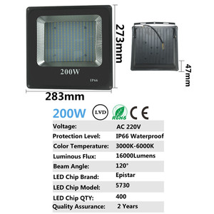 Image 4 - BUYBAY Brand LED Flood Light Outdoor reflector led 200W 100W 50W 30W Led projector light AC 220V Waterproof Floodlight exterior