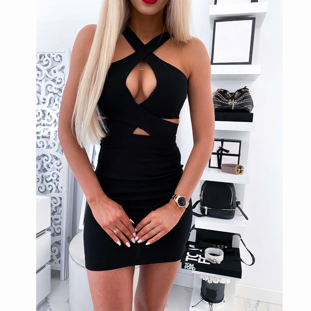 Sexy Red Bodycon Bandage Party Dress Women Sleeveless Halter Evening Club Short Mini Dress Chest Hollow Out Vestidos#A3 9