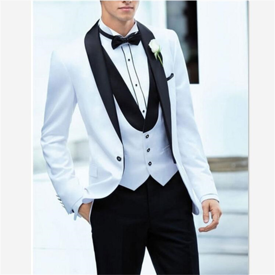 New Classic Men's Suit Smolking Noivo Terno Slim Fit Easculino Evening Suits For Men White Formal Dress Groom Tuxedos