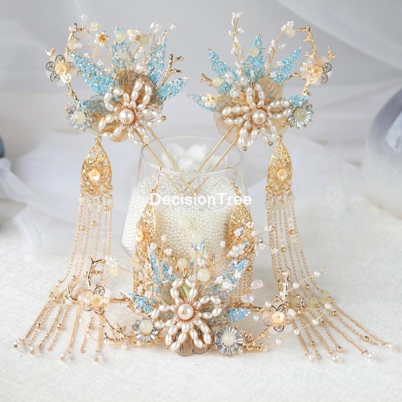 2021 chinese wedding bride crown headband hair combs accessories traditional women pearl hairpins tassels hair stick hair pin