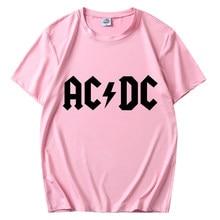 Nova moda masculina ac dc padrão impressão masculina e feminina rua hip-hop esportes casual camiseta