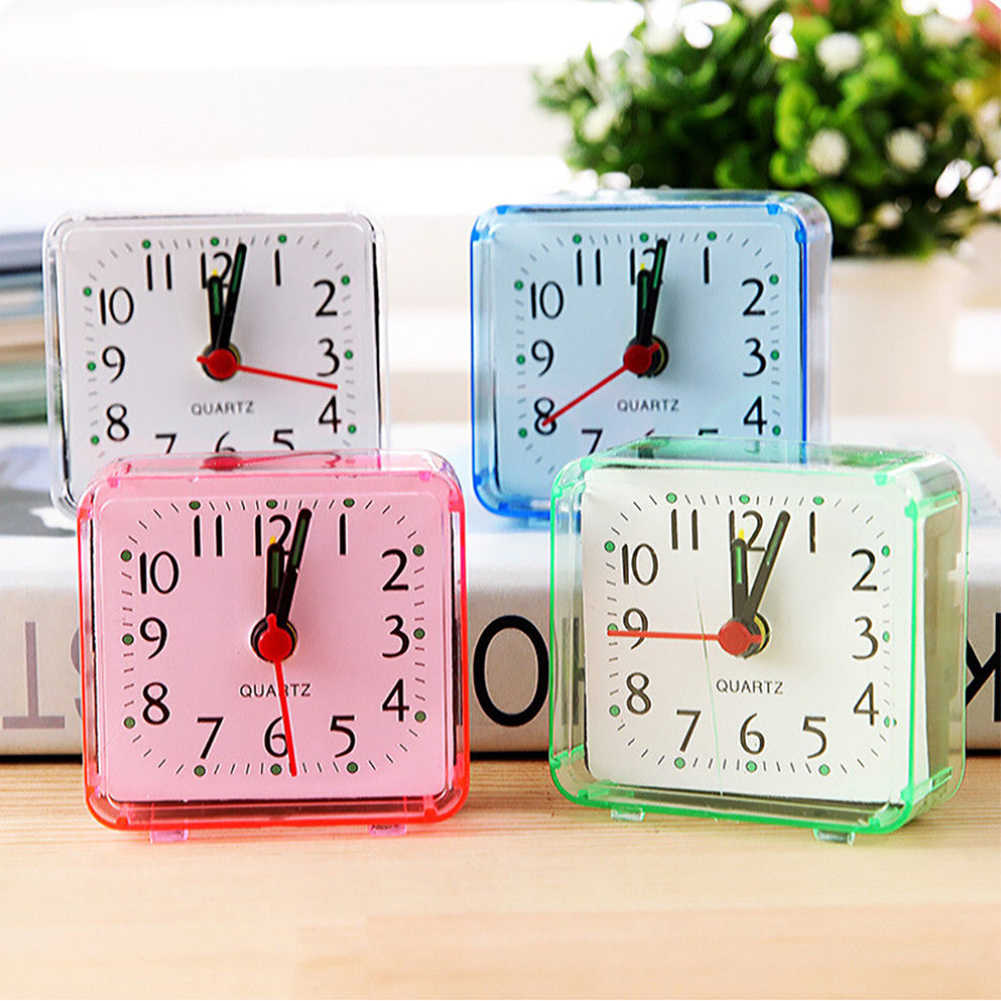 1PC Vierkante Kleine Bed Wekker Transparante Case Compacte Digitale Wekker Mini Kinderen Student Bureau Tafel Klok