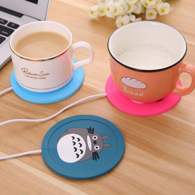 USB Warmer Gadget Cartoon Silicone thin Cup-Pad Coffee Tea Drink usb Heater Tray Mug Pad nice Gift 3