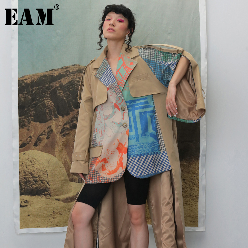 [EAM] Women Hit Color Two False Pieces Print Trench New Lapel Long Sleeve Loose Fit Windbreaker Fashion Spring Autumn 2020 1B739