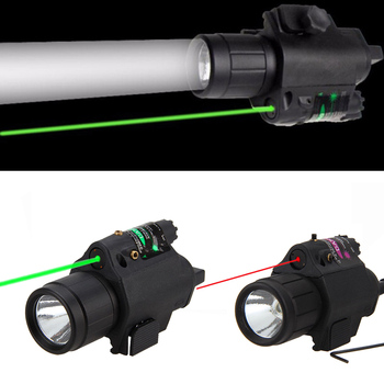 Green/Red Laser Sight LED Flashlight with 20mm Picatinny Rail Mount for Glock 17 19 22 Hunting Rifle