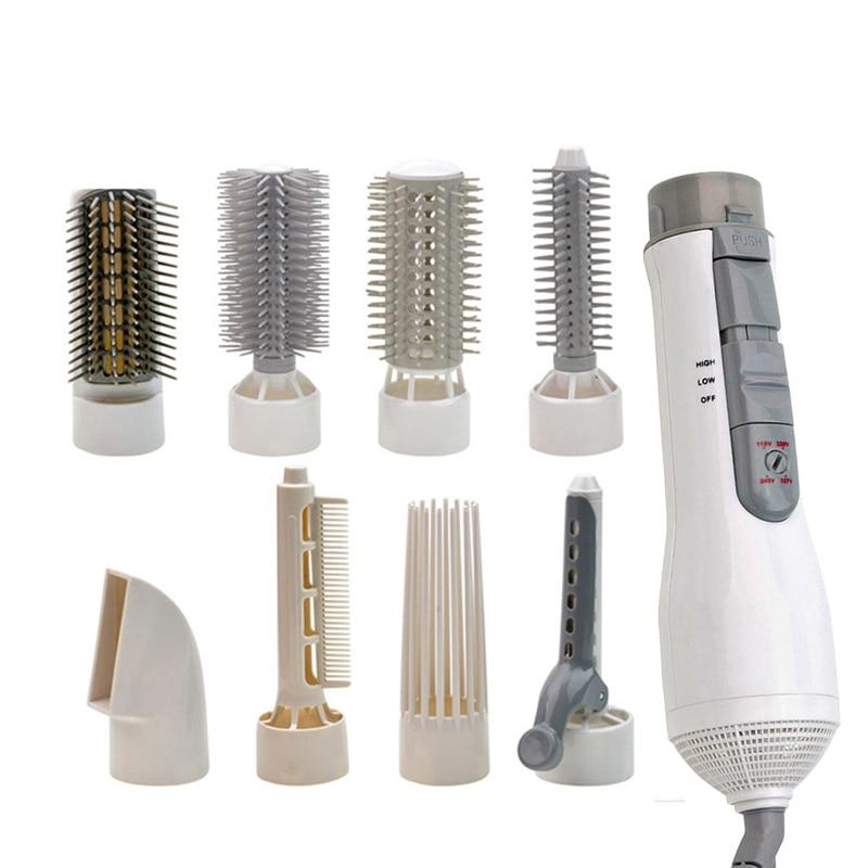 Güzellik ve Sağlık'ten null'de 8 In 1 çok fonksiyonlu profesyonel stil elektrikli saç kurutma makinesi saç kurutma makinesi seti bigudi şekli fırça tarak sıcak hava ab Plug beyaz title=