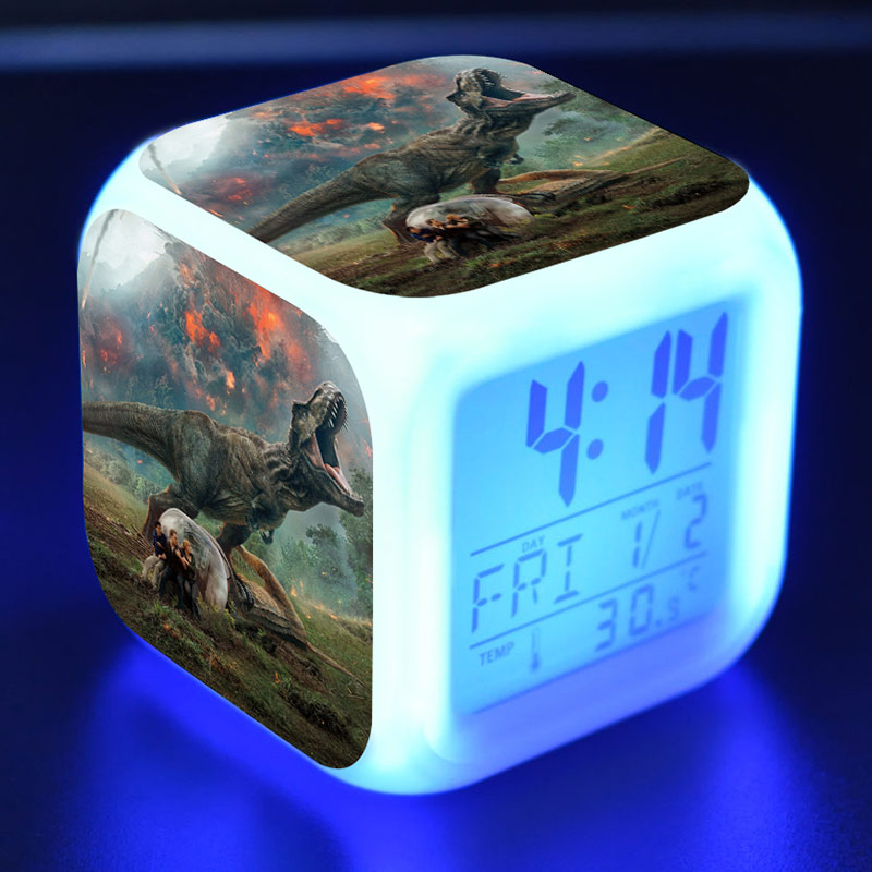 Jurássico figuras do mundo led despertador colorido flash nightlight jurassic parque figma relógio de mesa brinquedos