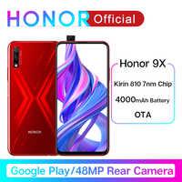 """Google Play Honor 9X Kirin 810 7nm smartfon z procesorem ośmiordzeniowym octa core 48MP podwójny aparat 6.59 """"pełnoekranowy wyskakujący aparat przedni telefon komórkowy"""