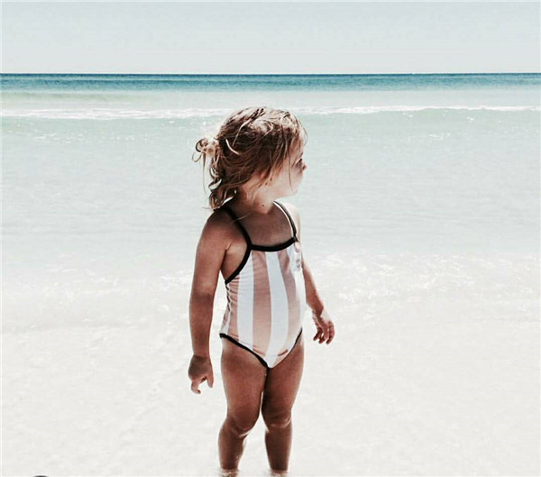 INS New Style Stripes Men And Women Children Vertical Stripes Swimsuit With Shoulder Straps Swimming Trunks High Elastic