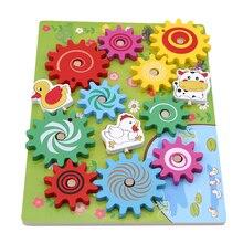 Детские Деревянные Шестерни животных 3D блок сборки животных сборки строительные блоки материалы по системе монтессори игрушка головоломка Поворотная головоломка