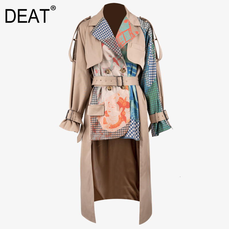 DEAT 2020 New Spring Turn-down Collar Full Sleeves Printed Waist Belts Spliced Big Size Windbreaker Female Jacket PB33604