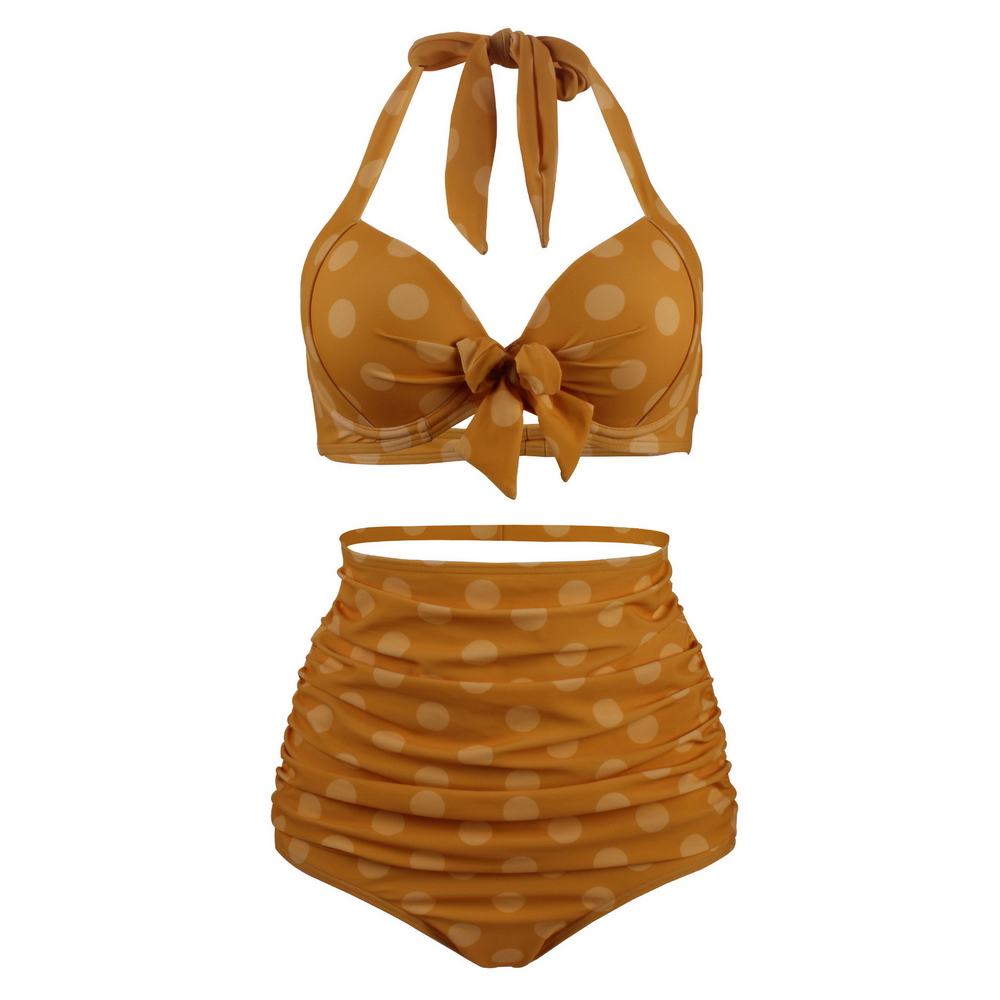 Swimsuits Swimwear Bikini-Sets Print Two-Piece High-Waisted HALTER Plus-Size Women Pleated